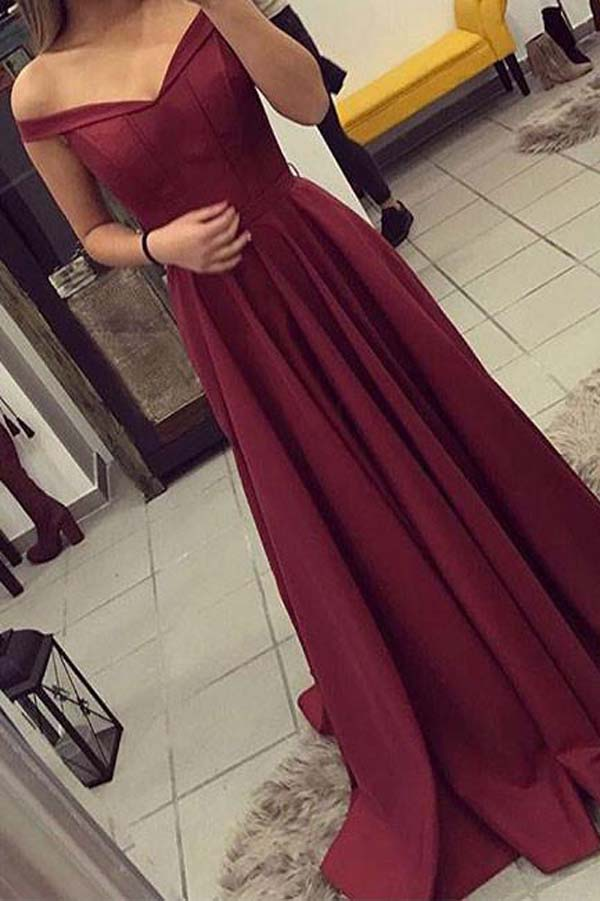 Simple Burgundy Off Shoulder A-line Long Prom Dresses Evening Dresses, SP346