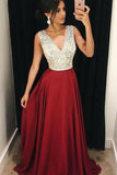 Red Beaded A-Line V-Neck Satin Long Prom Dress with Sweep Train, SP347