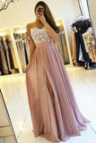 Dusty Rose Spaghetti Straps Lace Bodice Long Prom Dresses with Slit, SP349