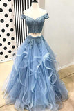 Blue Tulle Off Shoulder Two Piece Prom Dresses Lace Formal Dresses, SP350
