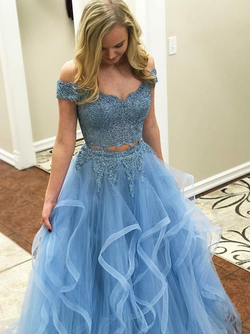 Blue Tulle Off Shoulder Two Piece Prom Dresses Lace Formal Dresses, SP350|musebridals.com