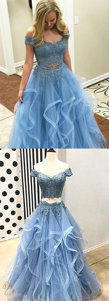 Buy Blue Tulle Off Shoulder Two Piece Prom Dresses Lace Formal Dresses, SP350 from simidress.com