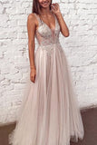 Beaded Tulle See Through V Neck Formal Dresses Long Prom Dresses, SP351