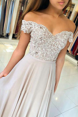 Chiffon Off the Shoulder Beaded Lace Long Prom Dresses Evening Gowns, SP352