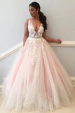 Charming Tulle V neck Lace Prom Dress, Evening Dresses with Appliques, SP354
