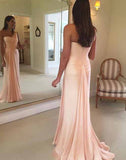 simidress.com offer Simple Blush Pink Chiffon One Shoulder Mermaid Long Prom Dresses, SP355