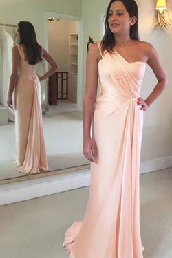 Simple Blush Pink Chiffon One Shoulder Mermaid Long Prom Dresses, SP355
