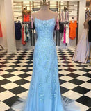 Sky Blue Mermaid Spaghetti Straps Backless Long Prom Dresses Formal Dress, SP356|simidress.com