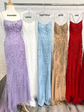 Sky Blue Mermaid Spaghetti Straps Backless Long Prom Dresses Formal Dress, SP356 from www.simidress.com