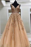 simidress.com|Cheap Ball Gown Gold Lace Long Prom Dresses with Appliques, Evening Dress, SP358