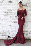 Maroon Lace Long Sleeve Mermaid Off the Shoulder Long Prom Dresses, SP359