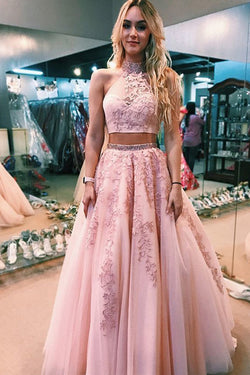 Elegant Pink Two Piece A Line Lace Halter Open Back Long Prom Dress, SP360