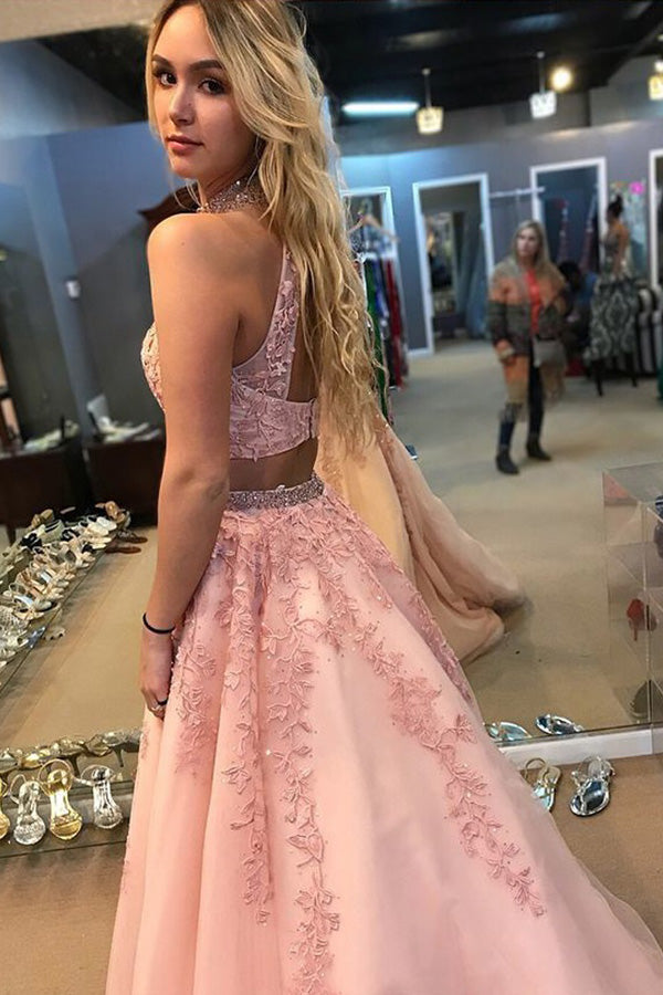 simidress.com offer Elegant Pink Two Piece A Line Lace Halter Open Back Long Prom Dress, SP360