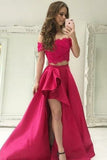 simidress.com offer Red Beaded Lace Two Piece Off-the-Shoulder High Low Satin Prom Dresses, SP361
