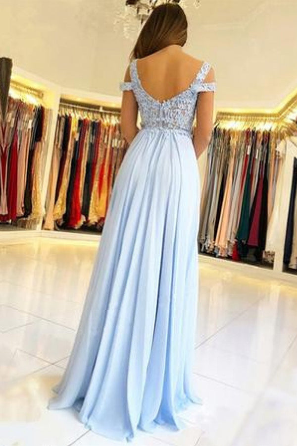 Chiffon Light Blue Lace Off The Shoulder Prom Dresses With Appliques, SP363|simidress.com