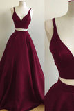 Simple Burgundy Two Piece Satin A-line Floor Length Prom Dress, SP365