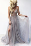 Tulle Beaded V neck Spaghetti Straps Long Prom Dresses Evening Dress, SP366