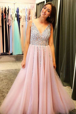 Fabulous Sparkly Pink Tulle A Line V-neck Long Pom Dresses With Rhinestones, SP367