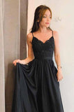 simidress.com offer Cute Chiffon Black A Line V Neck Split Long Prom Dresses with Appliques, SP370