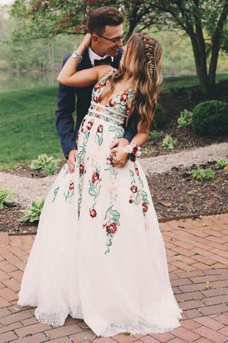 Charming Ivory Lace A Line V Neck Printed Long Prom Dresses with Embroidery, SP371