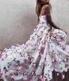 Beautiful Floral Lace Spaghetti Straps long Prom Dresses Evening Dress, SP376