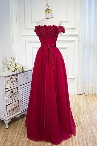 Beautiful Burgundy Hand-Made Flowers Long Prom Dress Evening Dresses, SP377