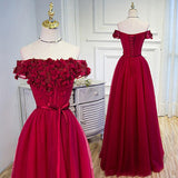 Beautiful Burgundy Hand-Made Flowers Long Prom Dress Evening Dresses, SP377|simidress.com