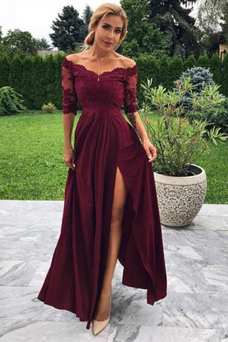 Burgundy Modest Off-the-shoulder A-line Satin Prom Dresses with Slit, SP379