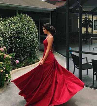 simidress.com offer Simple Red A-line Satin Spaghetti Straps Long Prom Dresses with Slit, SP380