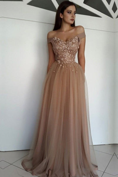 Beautiful Tulle A-line Off-the-Shoulder Long Prom Dresses with Appliques, SP381