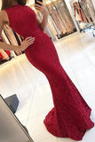 Burgundy Mermaid High Neck Tight Long Prom Dresses Evening Dresses, SP384