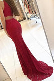 Simidress.com offer Burgundy Mermaid High Neck Tight Long Prom Dresses Evening Dresses, SP384