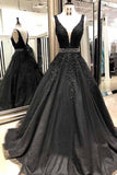 Black A-line V-neck Lace Open Back Floor-length Prom Dress with Beading, SP385