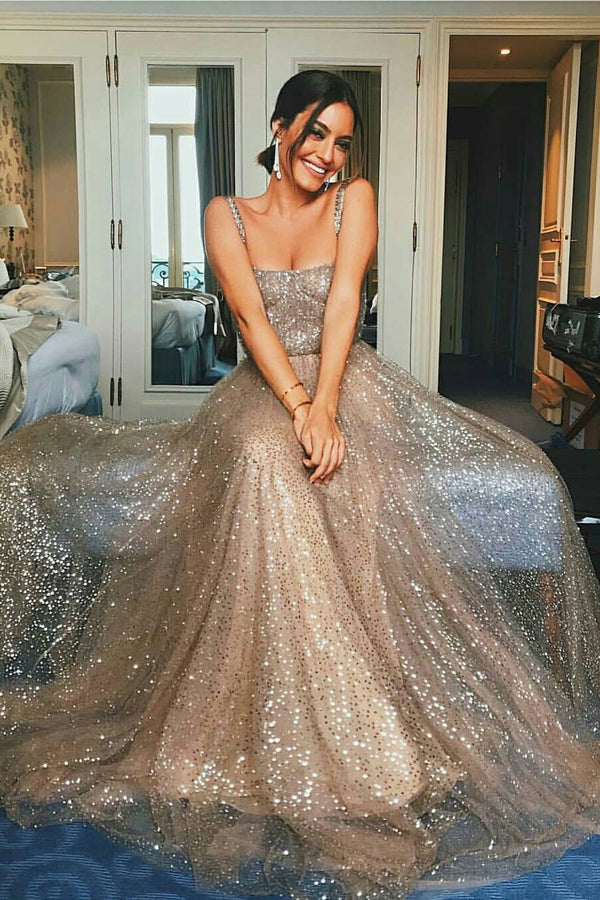 Chic Sparkly Gold Sequins Straps A-line Square Modest Long Prom Dresses, SP388