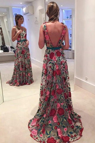 Fabulous Scoop A-line Lace Rose Floral Embroidery Long Prom Dresses, SP389