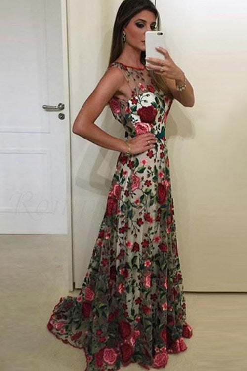 Simidress.com offer Fabulous Scoop A-line Lace Rose Floral Embroidery Long Prom Dresses, SP389