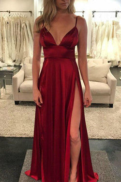 Burgundy A-line Spaghetti Straps Floor-length Prom Dresses With Side Slit, SP390