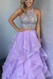 Beautiful Lilac Organza Two Piece Halter Floor-length Long Prom Dress, SP391