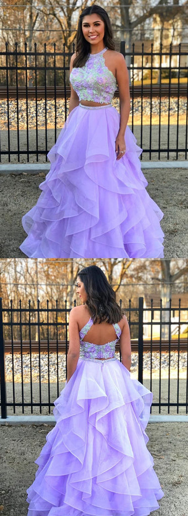 Simidress.com offer Beautiful Lilac Organza Two Piece Halter Floor-length Long Prom Dress, SP391