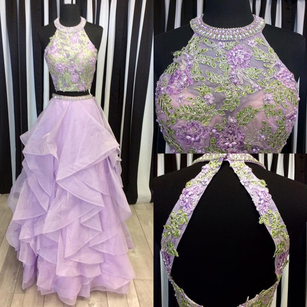 Beautiful Lilac Organza Two Piece Halter Floor-length Long Prom Dress, SP391|simidress.com