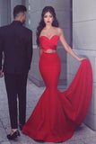 Unique Sleeveless Red Mermaid Two Piece Sweetheart Neck Prom Dresses, SP392