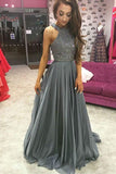 Grey Chiffon A-line Top Dark Rhinestone Beaded Prom Dresses Party Dress, SP393