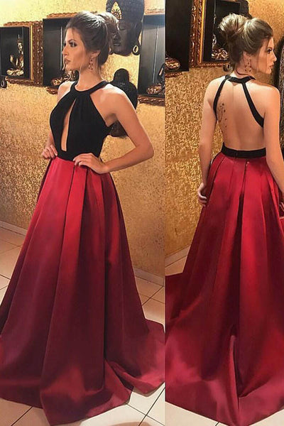 Dark Red Satin A-line Backless Round-neck Keyhole Long Prom Dresses, SP394