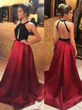 Simidress.com offer Dark Red Satin A-line Backless Round-neck Keyhole Long Prom Dresses, SP394