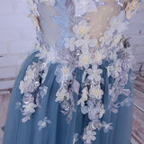 Charming A-line Scoop Tulle Long Prom Dress/Evening Dress with Flowers, SP395