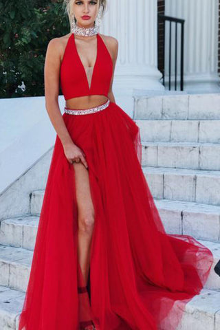 Red Tulle Two Piece A-line High Neck V-neck Long Prom Dress Evening Dresses, SP397