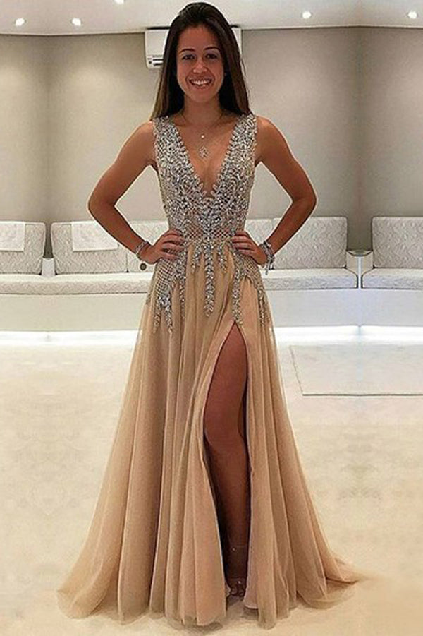 Charming High Quality Tulle A-line V neck Prom Dresses with Side Slit, SP399