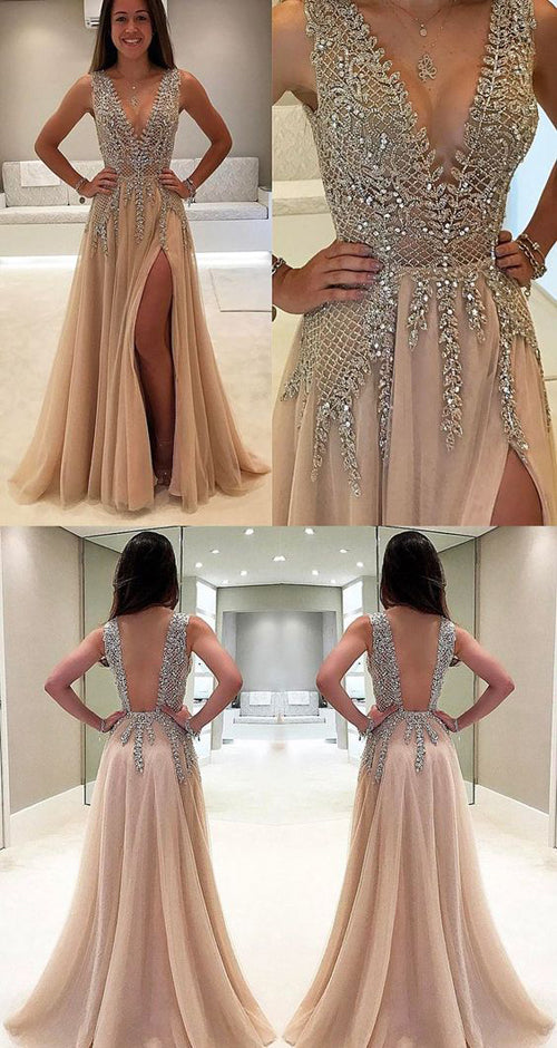 Simidress.com offer Charming High Quality Tulle A-line V neck Prom Dresses with Side Slit, SP399