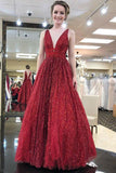 Stunning Red A Line V Neck Sleeveless Floor Length Prom Dress Party Dresses, SP402