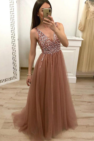 Beautiful Tulle A-line V-neck Beaded Floor-length Prom Dress, Evening Dresses, SP403